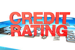 Credit rating in red on a credit card background Stock Image