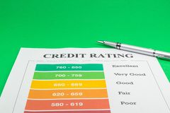 Credit rating on a yellow table and pen. Credit rating on a yellow table and pen close up stock photos
