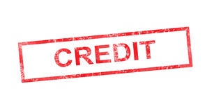 Credit in red rectangular stamp Stock Image