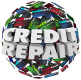 Credit Repair Improve Increase Score Rating Ability Borrow Money. Credit Repair words in white 3d letters on a ball or sphere of cards, advice to improve or stock illustration