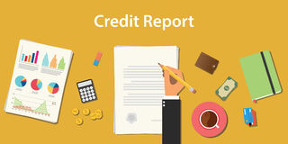 Credit report business illustration with business man signing a paper work document with graph and chart Royalty Free Stock Photography