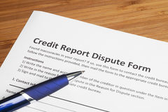 Credit report dispute score. On a desk stock photography