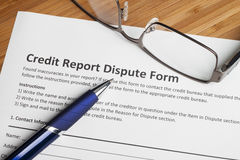 Credit report dispute score. On a desk royalty free stock photography