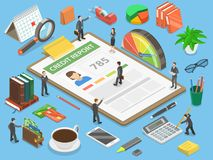 Credit report flat isometric vector concept. Credit report, flat isometric vector concept of personal credit score information and financial rating Royalty Free Stock Photography