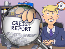 Credit Report through Lens. Doodle Design. Credit Report on Paper in Man`s Hand through Lens to Illustrate a Business Concept. Multicolor Doodle Style Stock Photos