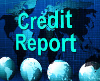 Credit Report Represents Debit Card And Analysis Royalty Free Stock Photography