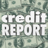 Credit Report Score Money Cash Background 3d Words Royalty Free Stock Photos
