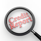 Credit Report under Magnifying Glass. 3D render of the word Credit Report under a magnifying glass Royalty Free Stock Photo