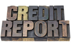 Credit report in wood type Royalty Free Stock Photos