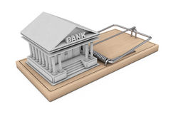 Credit Risk Concept. Bank Building over Wooden Mousetrap over Wo. Credit Risk Concept. Bank Building over Wooden Mousetrap on a white background. 3d Rendering Royalty Free Stock Photography