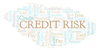 Credit Risk word cloud. Wordcloud made with text only stock illustration