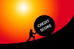 Credit score. Fighting hard to get a decent credit score in order to get a loan (FICO-score as used in the USA Stock Photo