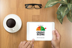 CREDIT SCORE (Businessman Checking Credit Score Online and Financial payment Rating Budget Money) stock image