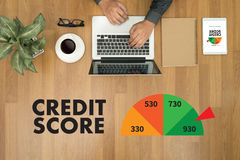 CREDIT SCORE (Businessman Checking Credit Score Online and Financial payment Rating Budget Money) royalty free stock image