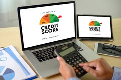 CREDIT SCORE Businessman Checking Credit Score Online and Financial payment Rating Budget Money. D royalty free stock photo