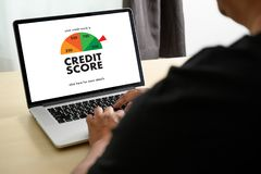 CREDIT SCORE Businessman Checking Credit Score Online and Financial payment Rating Budget Money. D royalty free stock photography