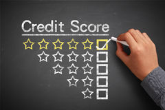 Credit score concept. Hand with chalk is drawing Credit score concept on the chalkboard Stock Photo