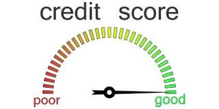 Credit score gauge credit request Stock Photo