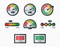 Credit score indicators and gauges vector set stock illustration