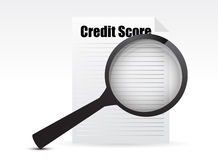 Credit Score and Magnifying Glass Stock Image