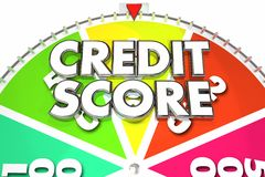 Credit Score Rating Number Win Best Spinning Wheel 3d Illustrati. On Royalty Free Stock Image