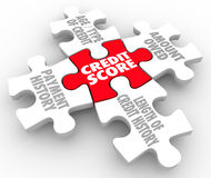 Credit Score Rating Puzzle Pieces Factors Payment History. Credit Score words on puzzle pieces as factors in your rating - payment history, age and type of Stock Photo