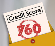 Credit Score Rating Report Card Number Envelope. Credit Score words on a report card with stamp and number 760 to illustrate creditworthiness of an applicant Stock Photo