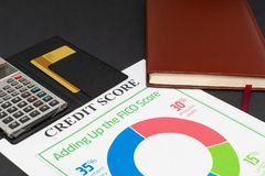 Credit score report with calculator. Credit score report with keyboard and notepad royalty free stock photo