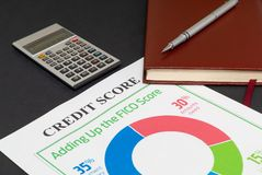 Credit score report with calculator. Credit score report with keyboard and notepad royalty free stock photos