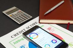 Credit score report with calculator. Credit score report with keyboard and notepad stock images