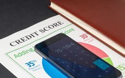 Credit score report with calculator. Credit score report with keyboard and notepad stock photo