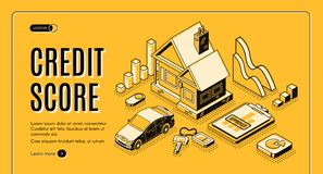 Free Credit Score Service Isometric Vector Website Royalty Free Stock Image - 140674256
