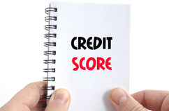 Credit score text concept. Isolated over white background stock photography