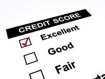 Credit score. Text 'credit score' and three tick boxes marked 'excellent', 'good' and 'fair' with excellent ticked in red, white background stock illustration