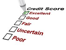 Credit score. Text 'credit score'  in black text with boxes below listed as  poor, uncertain, fair, good and excellent, ticked with green ink pen, white Stock Photo