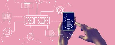 Credit score theme with smartphone royalty free stock photo
