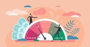 Free Credit Score Vector Illustration. Wealth Evaluation In Tiny Persons Concept Stock Images - 167235574