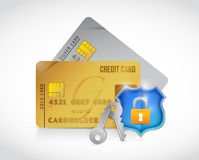Credit secure cards shield lock protection Royalty Free Stock Photography