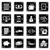 Credit set icons, grunge style Royalty Free Stock Photography