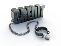 Credit and shackle. Concept - 3d render Royalty Free Stock Image