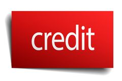 Credit sign. Credit square paper sign isolated on white background. credit button. credit stock illustration