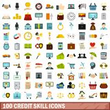 100 credit skill icons set, flat style. 100 credit skill icons set in flat style for any design vector illustration stock illustration