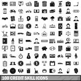 100 credit skill icons set, simple style. 100 credit skill icons set in simple style for any design vector illustration Stock Photography