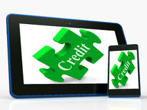 Credit Smartphone Shows Financial Loan And Borrowing Money. Credit Smartphone Showing Financial Loan And Borrowing Money Stock Photos