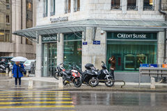 Credit Suisse bank. Branch in Geneva, Switzerland Royalty Free Stock Images