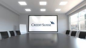 Credit Suisse grupperar logo på skärmen i en mötesrum Redaktörs- tolkning 3D Royaltyfria Foton