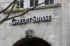 Credit Suisse in het Zwitserse financiële centrum van de stad van Zürich royalty-vrije stock foto