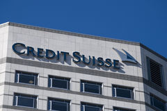 Credit Suisse HQ London. London Credit Suisse Headquarters in Canary Wharf., Cabot Square Stock Images
