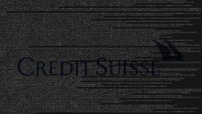 Credit Suisse logo som göras av källkod på datorskärmen Redaktörs- tolkning 3D Royaltyfria Bilder