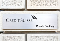 Credit Suisse. ZURICH - JANUARY 10, 2013: Credit Suisse is the second-largest Swiss bank. Credit Suisse is selling its exchange-traded fund business to U.S Royalty Free Stock Photos